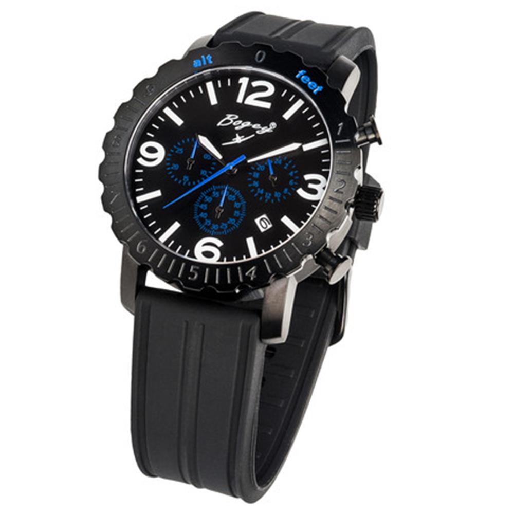 Reloj analógico hombre caucho/nylon - negro