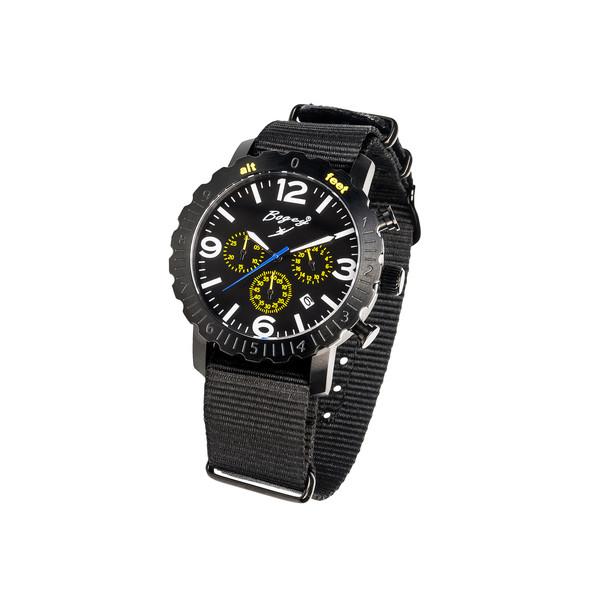 Reloj analógico acero/nylon hombre - negro