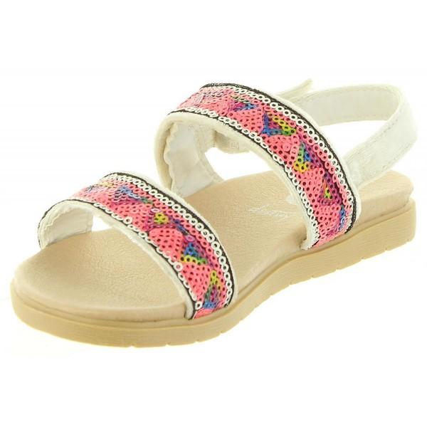 Sandalias de Niña con cierre de velcro blanco/multicolor