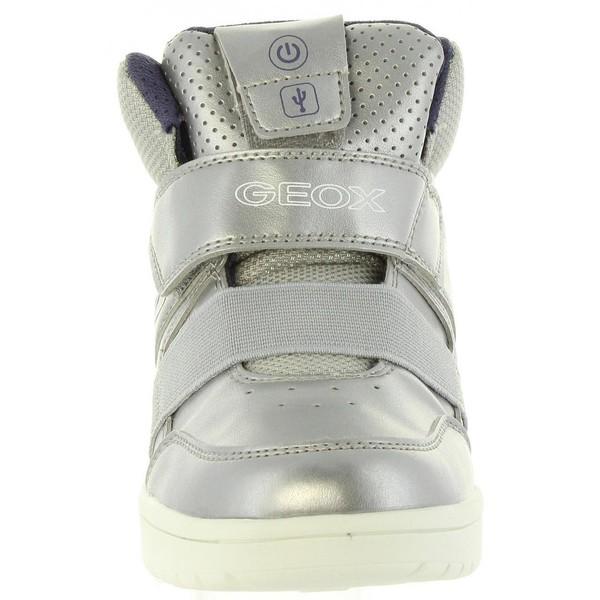Sneaker piel junior - plateado/violeta