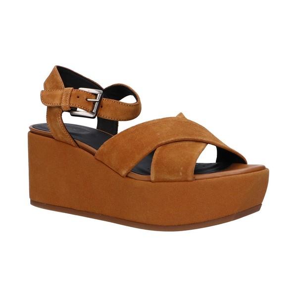 7cm Sandalia plataforma piel mujer - marrón
