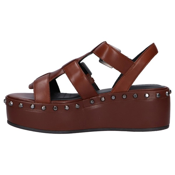 6cm Sandalia plataforma piel mujer - marrón