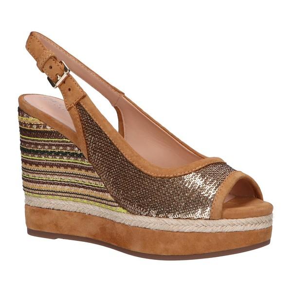 11cm Sandalia cuña piel/textil mujer - dorado