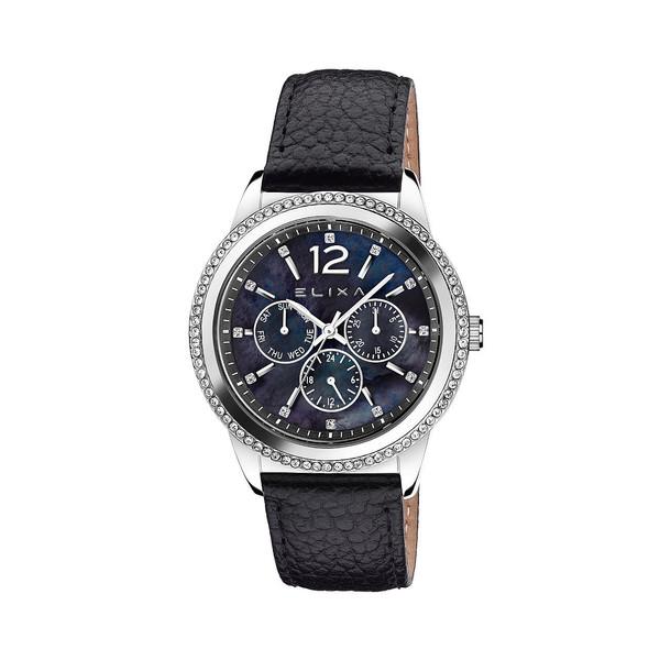 Reloj analógico acero/piel mujer - negro