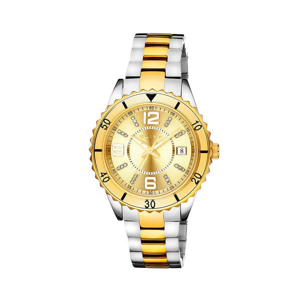 Reloj analógico acero mujer - bicolor