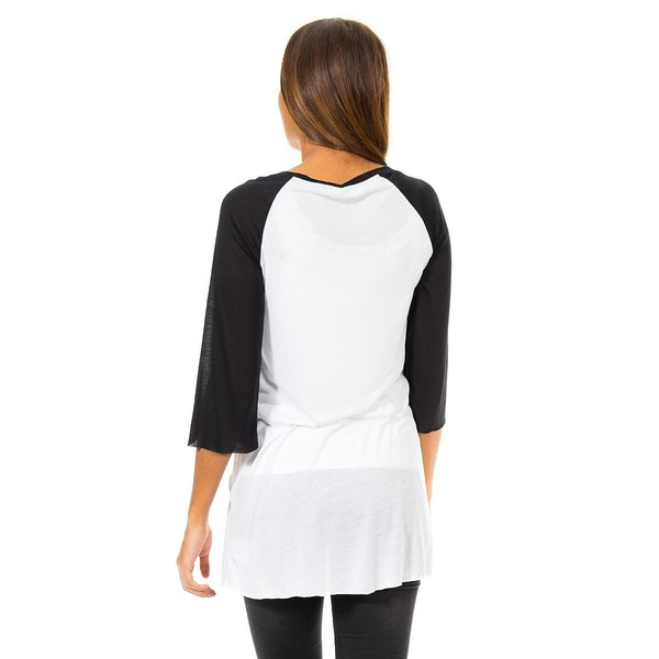 Camiseta manga 3/4 mujer - blanco