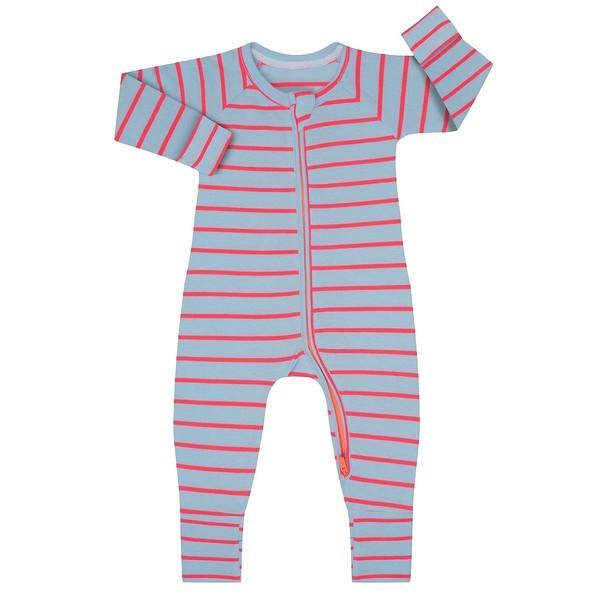 Pelele manga larga con cremallera Dim BEBE - Azul-rosa