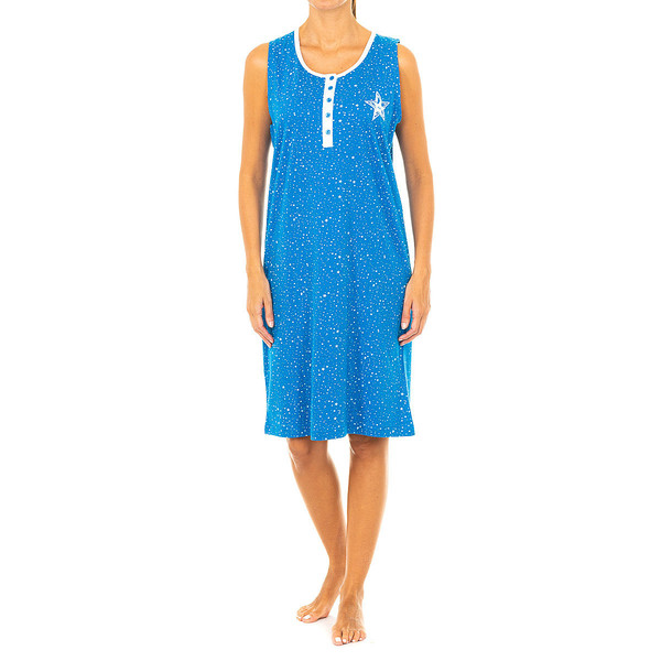 Camisón s/mangas mujer - azul/blanco