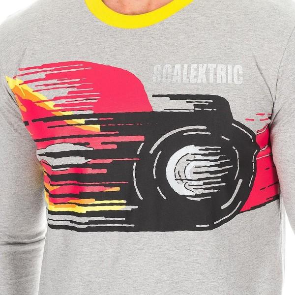 Camiseta m/larga hombre - gris jaspeado/amarillo