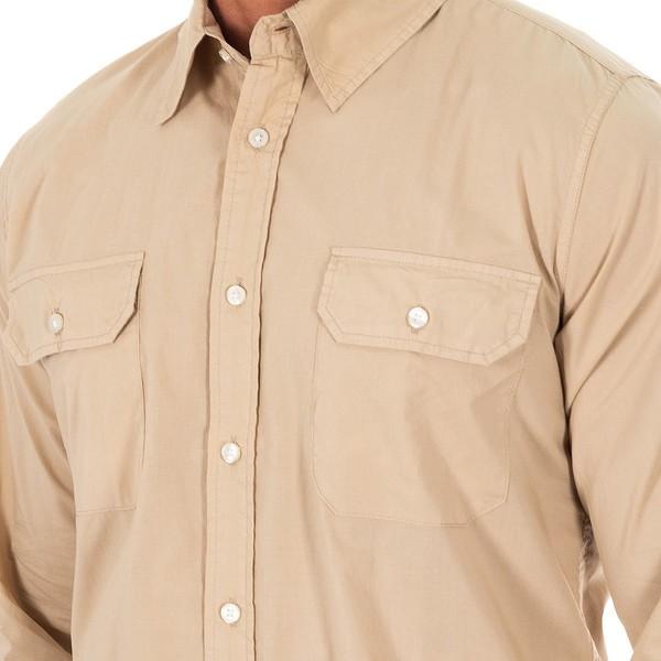 Camisa m/larga hombre - camel/rosa
