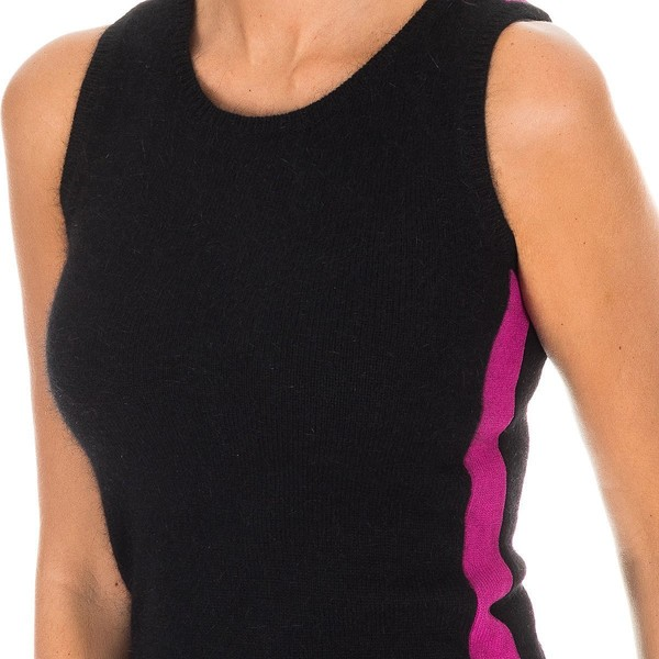 Camiseta s/mangas mujer - negro/franjas rosas