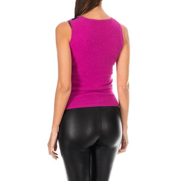 Camiseta s/mangas mujer - rosa/franjas negras
