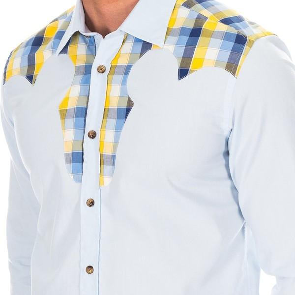 Camisa m/larga hombre - celeste/cuadros
