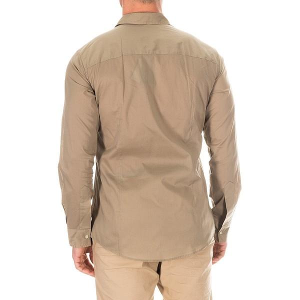 Camisa m/larga hombre - caqui claro