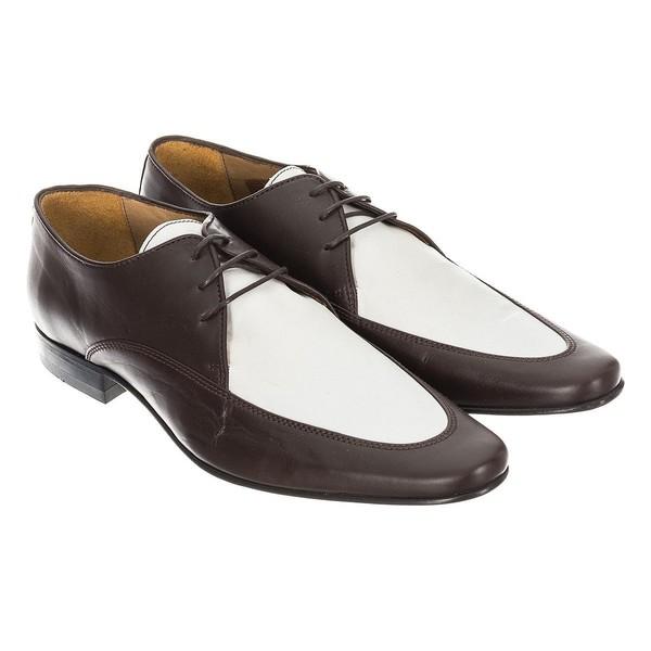 Zapatos hombre - marrón oscuro/blanco