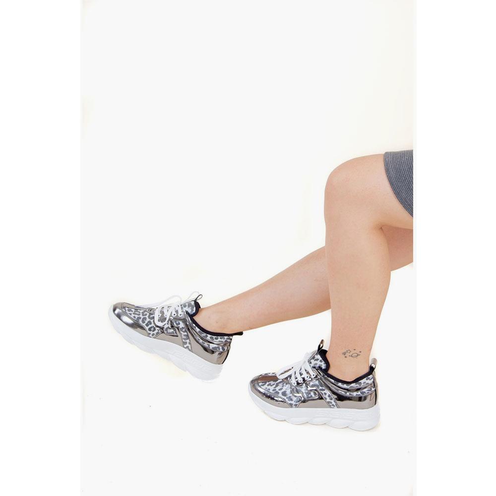 4cm Sneaker mujer - platino/leopardo
