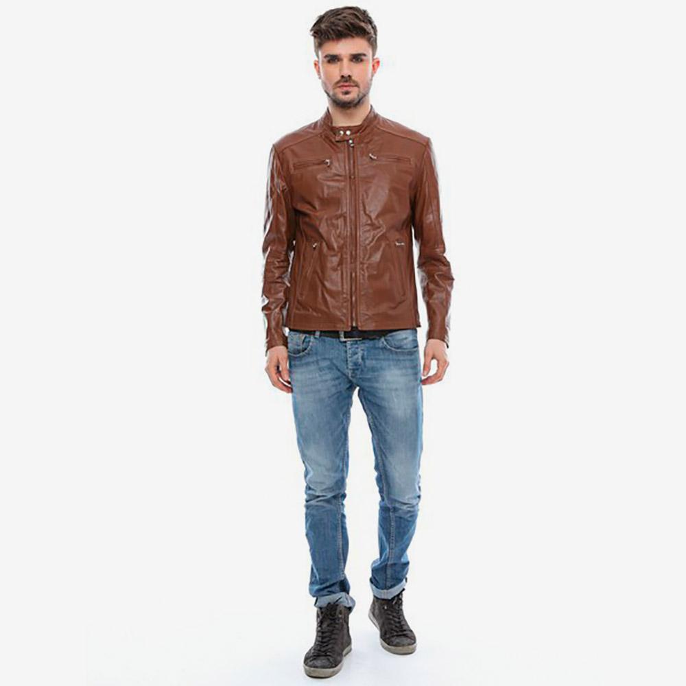 Chaqueta piel hombre - coñac