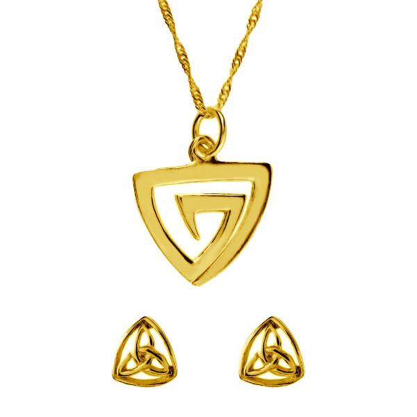 Conjunto gargantilla y pendientes celta - oro amarillo