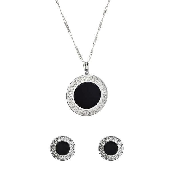 Conjunto colgante y pendientes - plata/negro