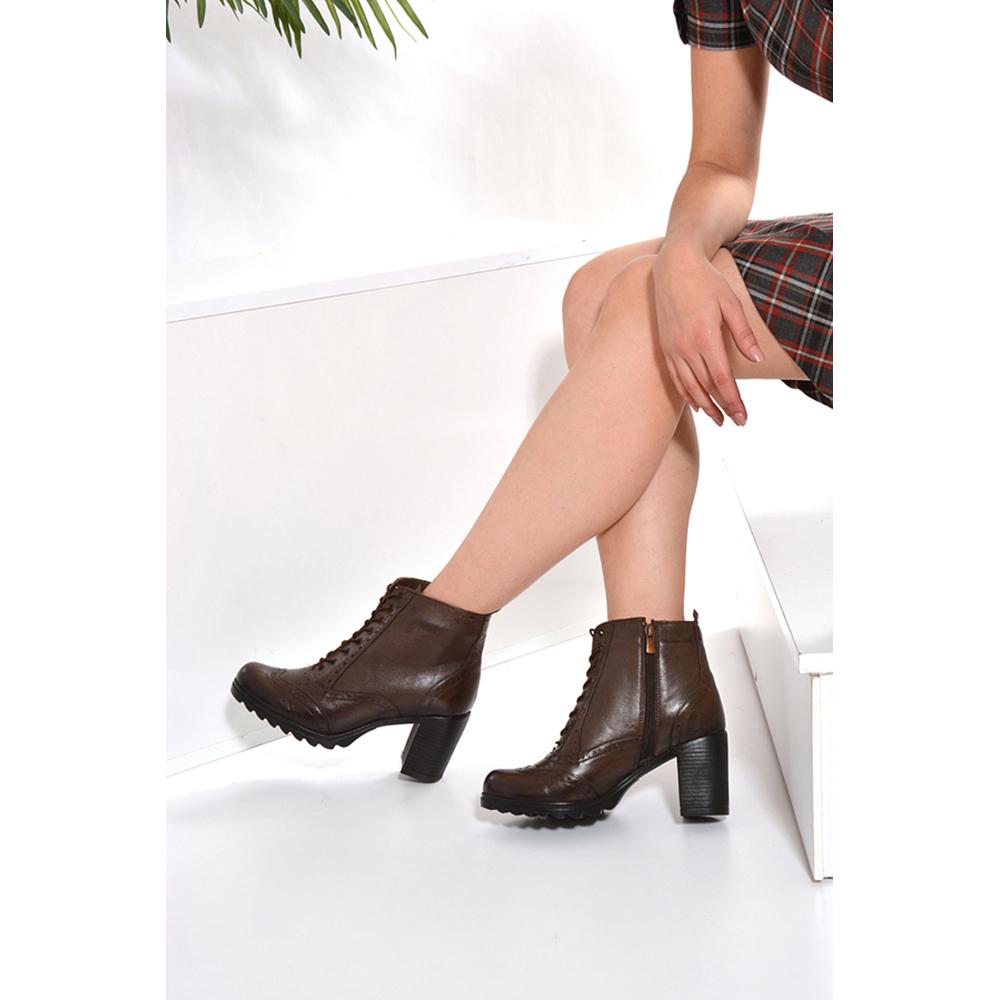 8cm Botín tacón mujer - visón
