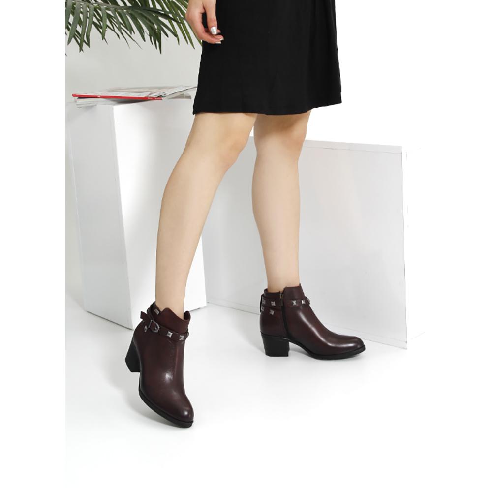 6cm Botín tacón mujer - burdeos