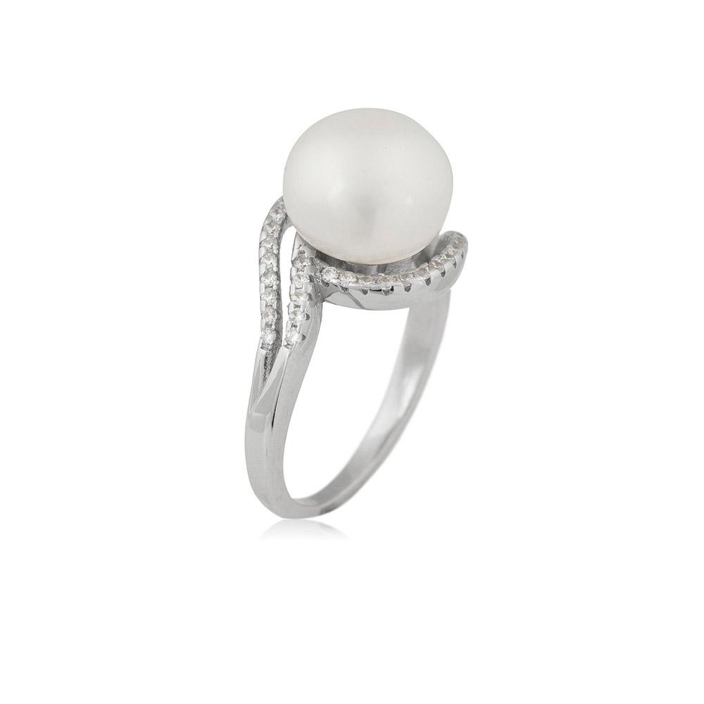 Anillo plata mujer - perla/circonio