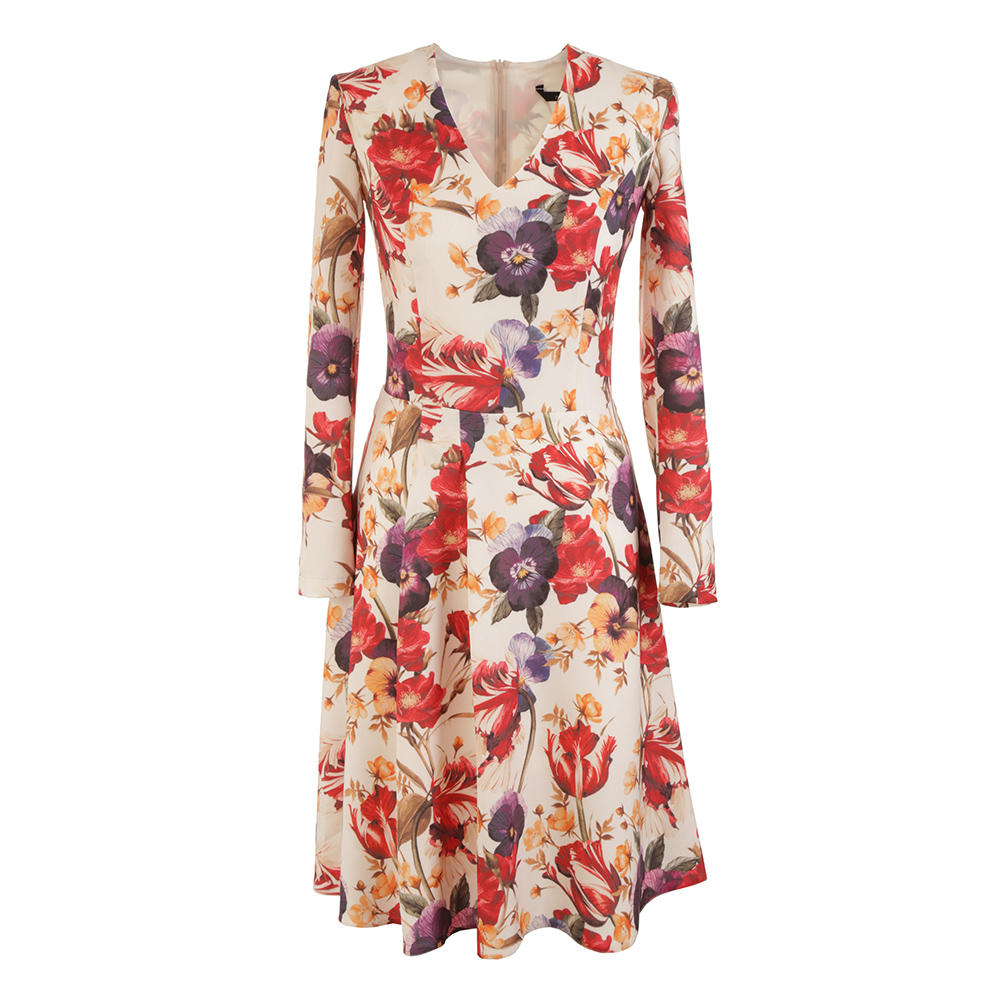 Vestido mujer - crudo/estampado