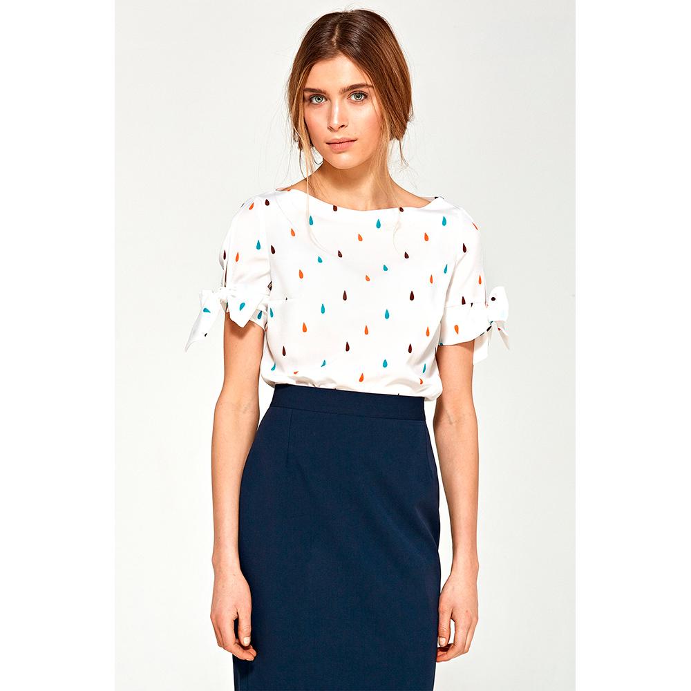 Blusa m/corta mujer - blanco/multicolor