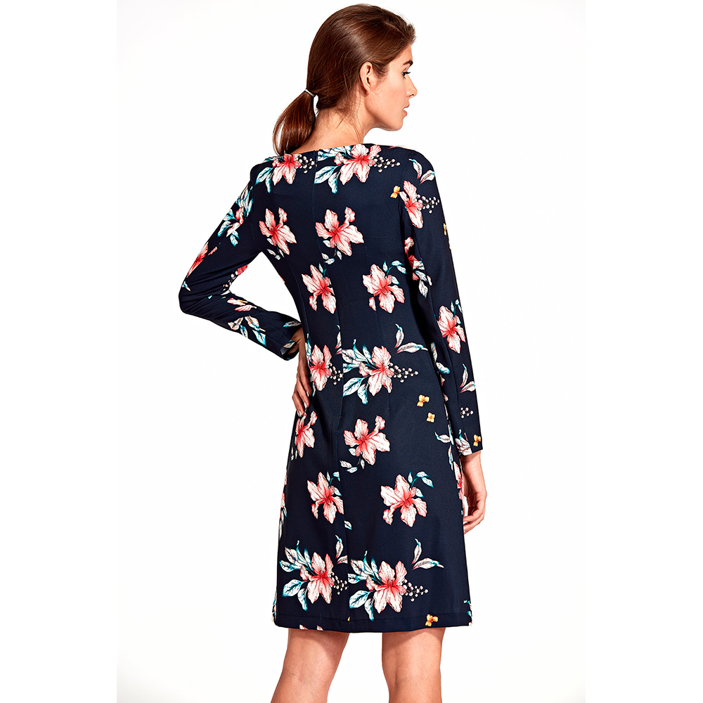 Vestido mujer - marino/estampado