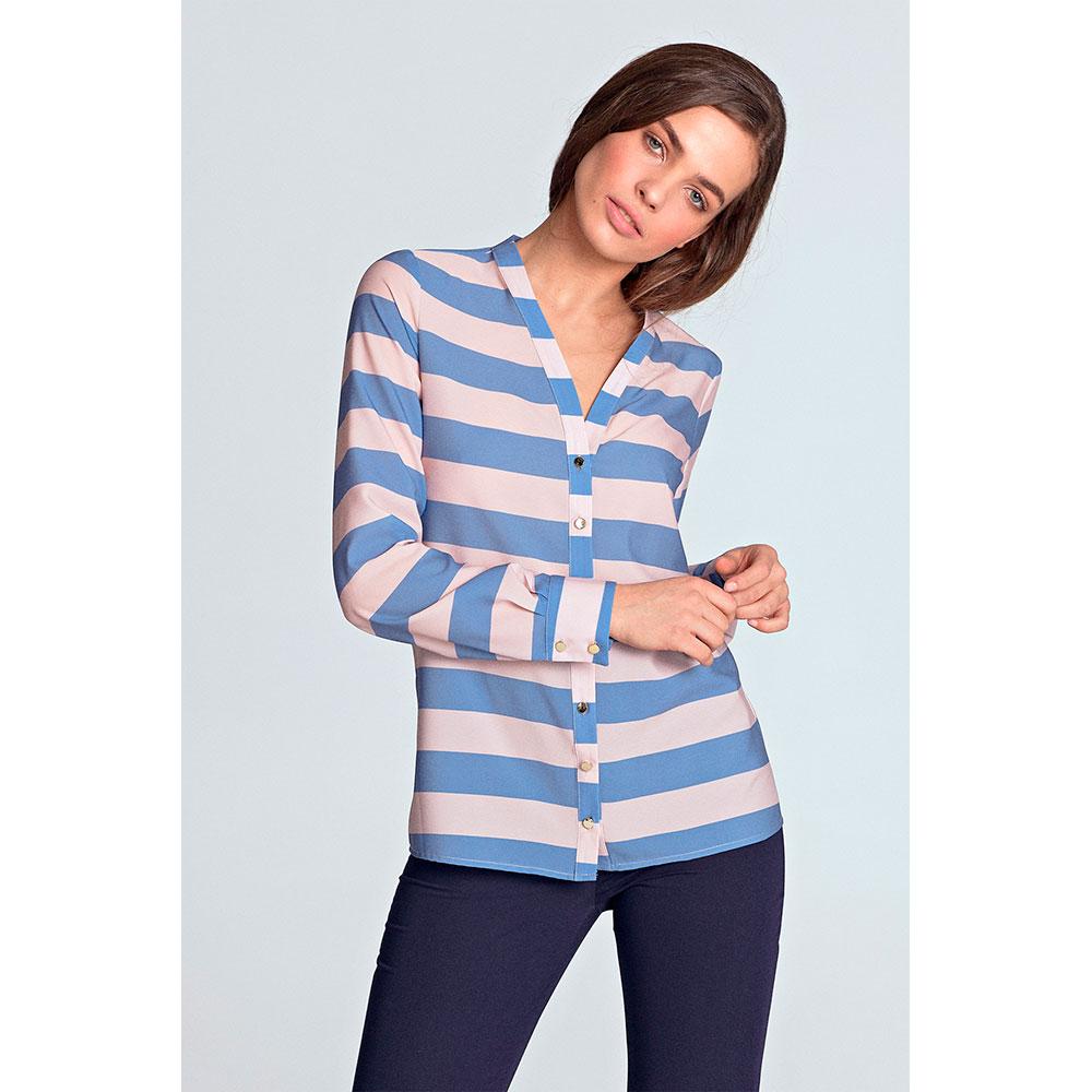 Blusa m/larga mujer - azul/rosa
