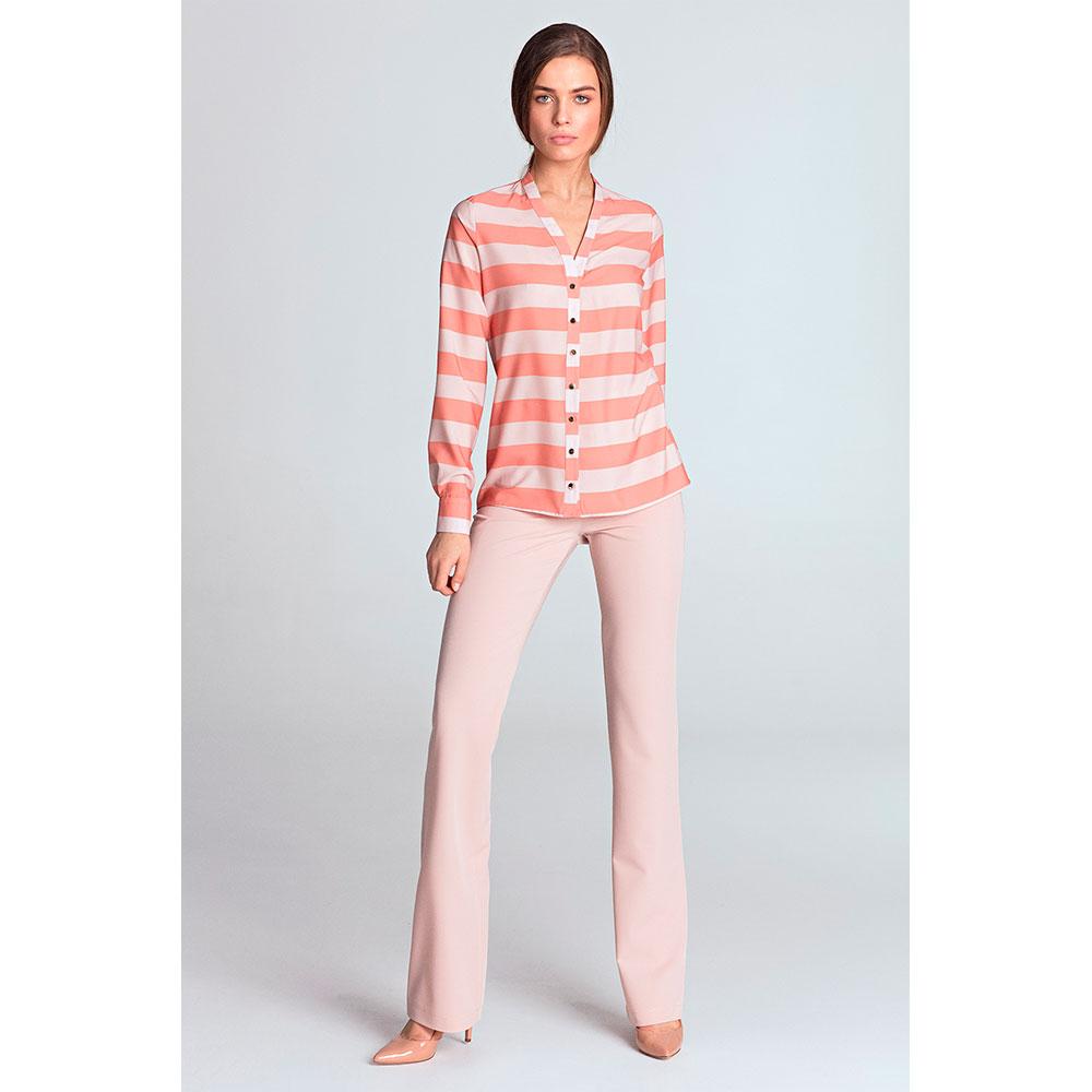 Blusa m/larga mujer - rosa/rayas
