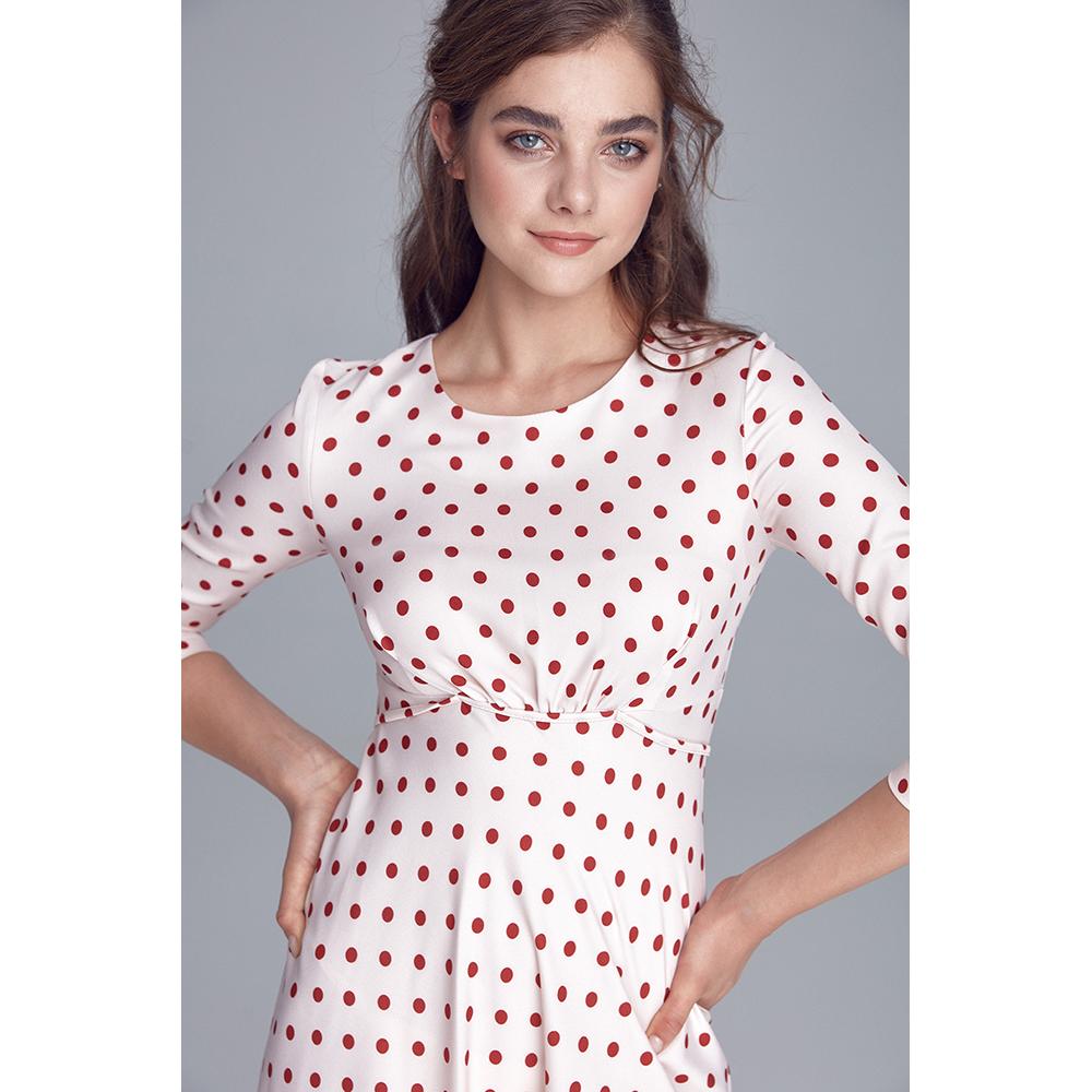 Vestido mujer - crema/topos
