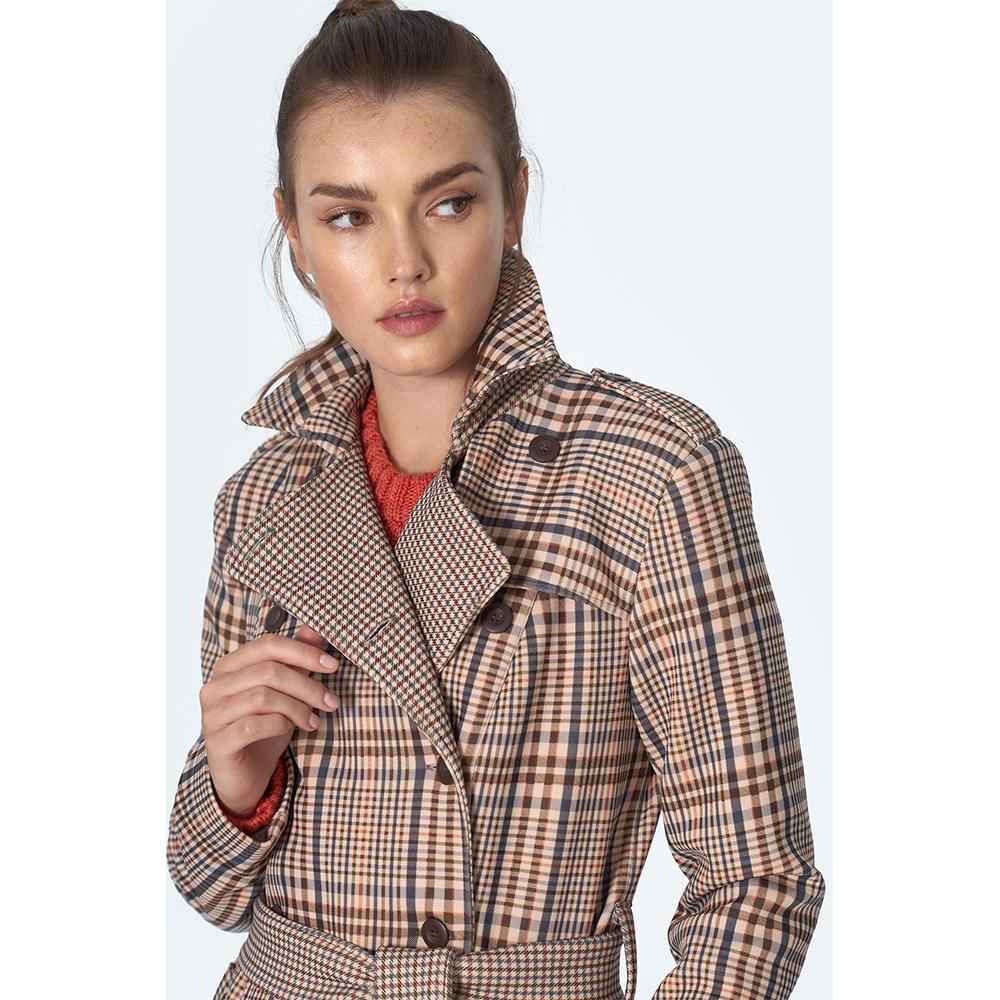 Abrigo mujer - beige/cuadros