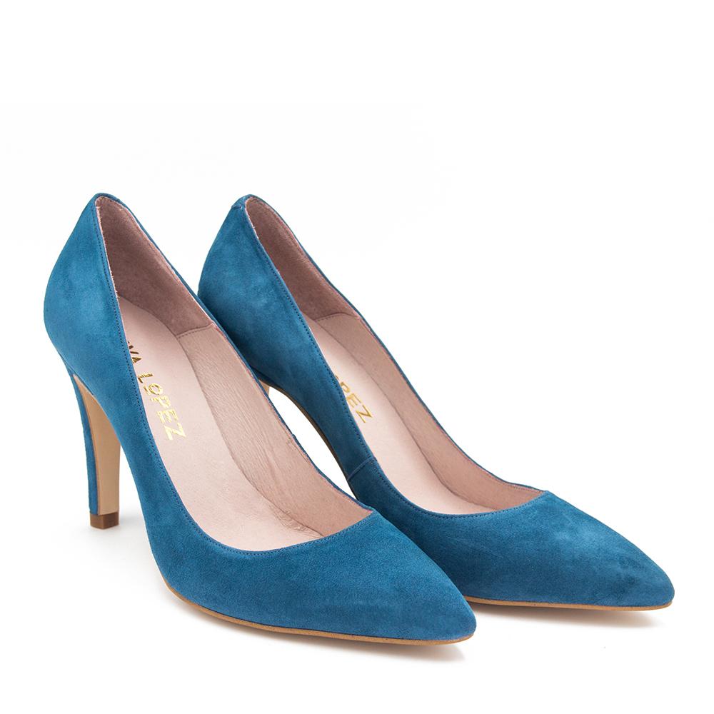 8,5cm Zapato salón piel mujer - azul