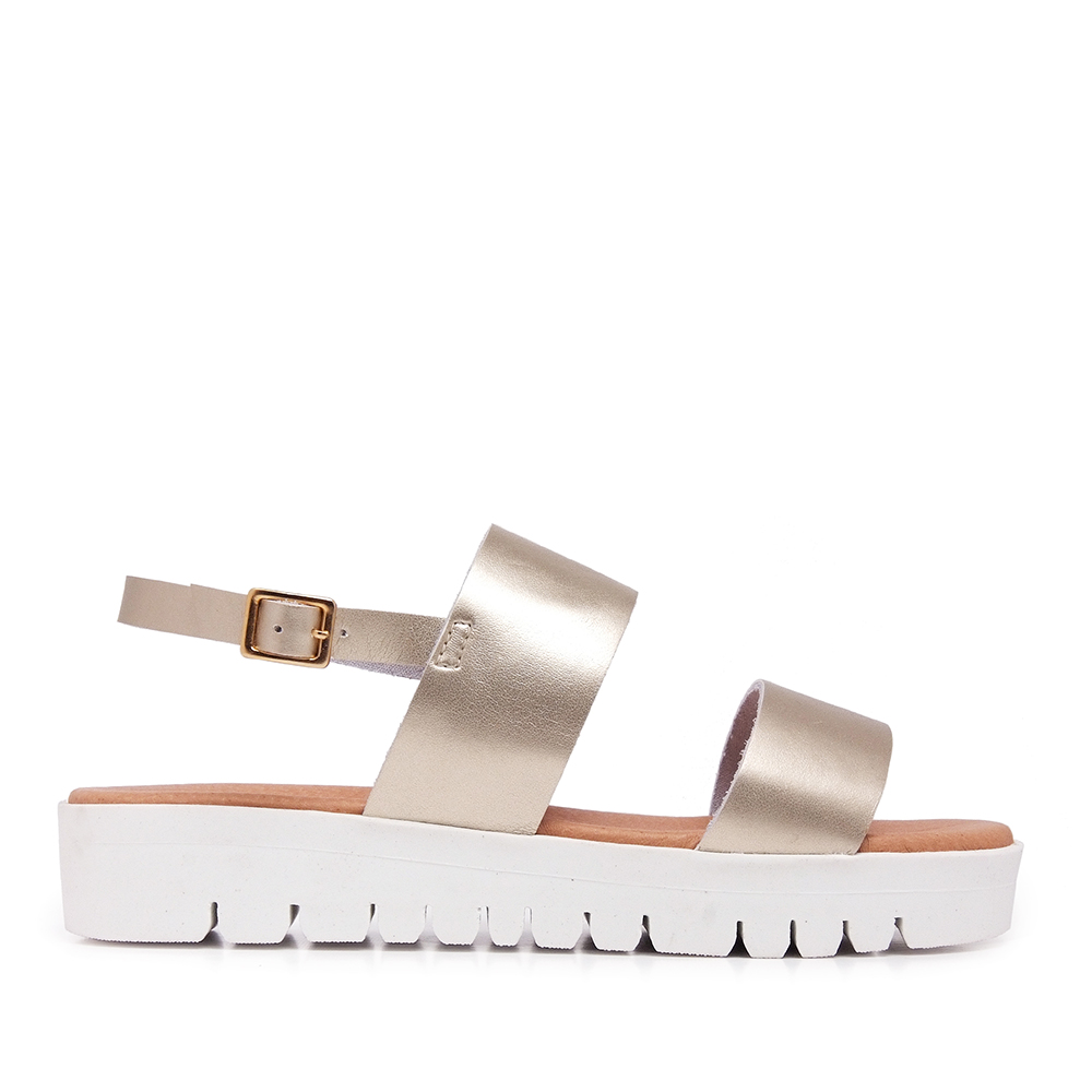 Sandalia piel mujer - platino