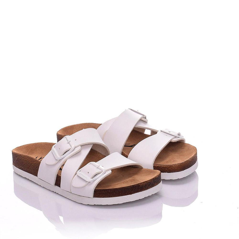 Sandalia plana piel mujer - blanco