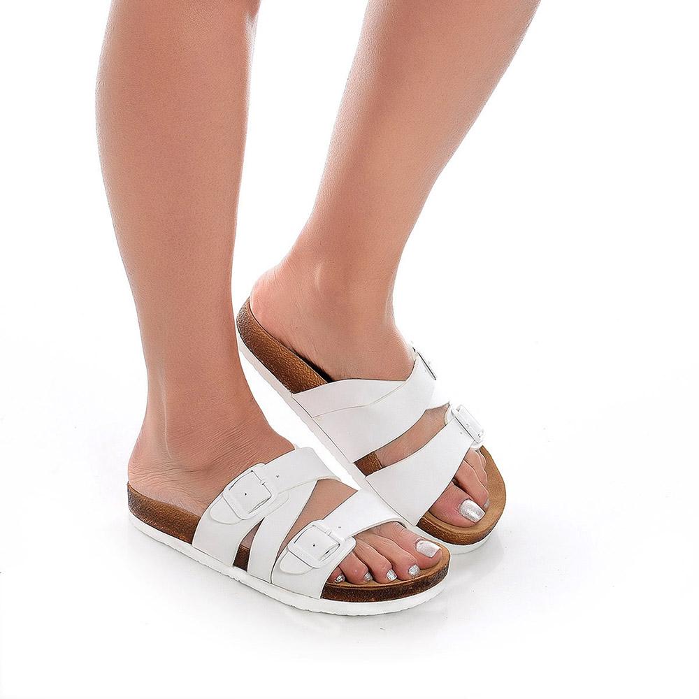 Sandalia mujer piel - blanco