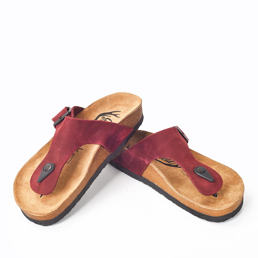 Sandalia mujer piel - burdeos
