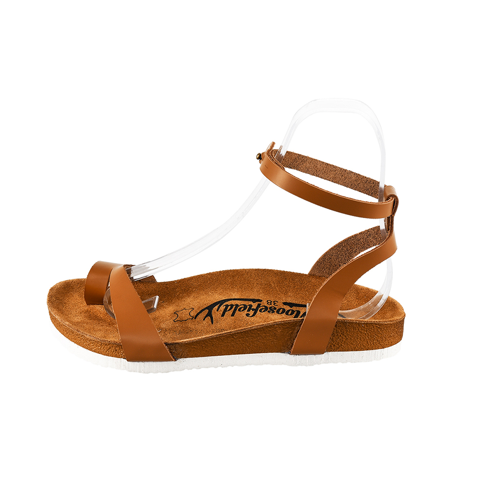 Sandalia mujer piel - marrón