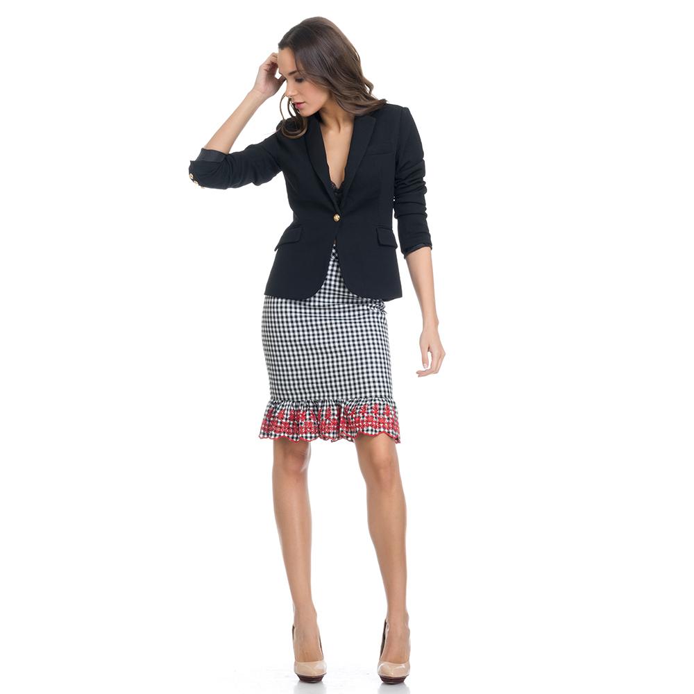 Falda bordada  - negro