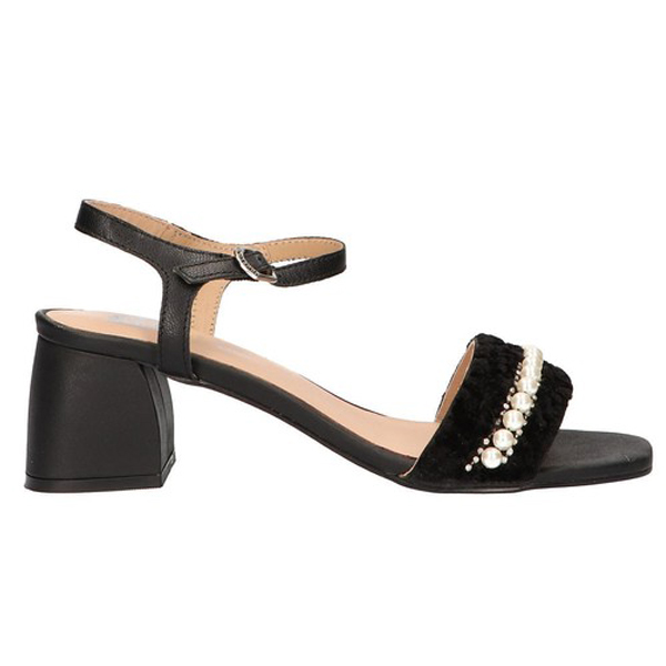 Sandalias tacón mujer piel - negro