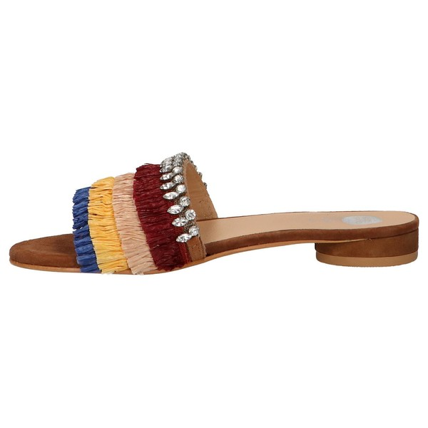Sandalias planas mujer piel - multicolor