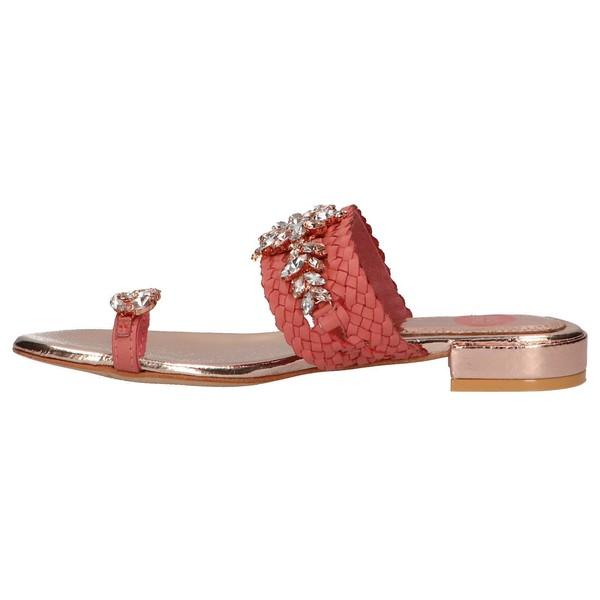 Sandalia piel mujer - coral