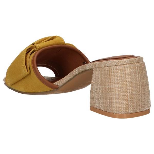 6cm Sandalia tacón piel mujer - amarillo