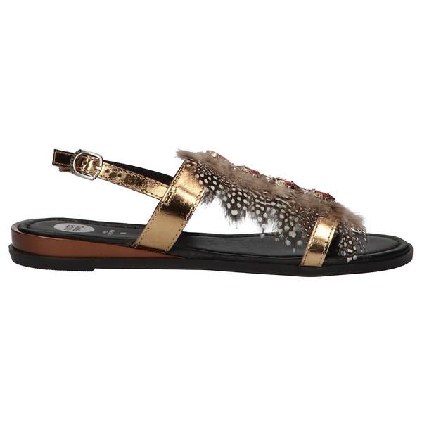 Sandalia piel mujer - bronce/negro