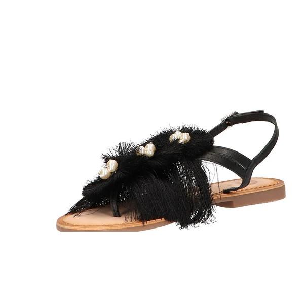 Sandalias planas mujer piel - negro