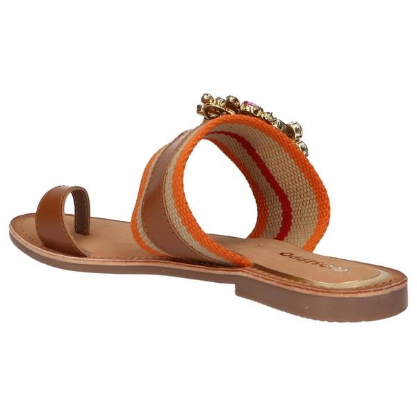 Sandalia piel/textil mujer - marrón