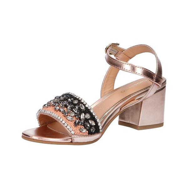 6cm Sandalia tacón piel/textil mujer - rosa