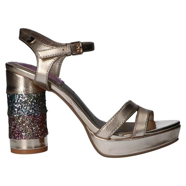 Sandalia tacón mujer - dorado