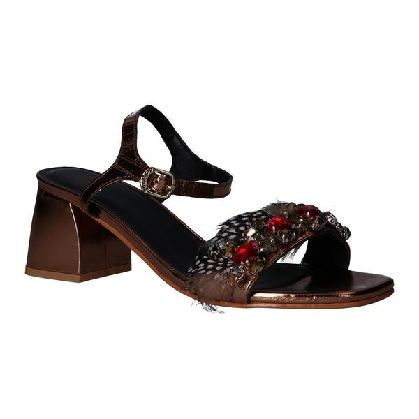 5cm Sandalia tacón piel mujer - marrón